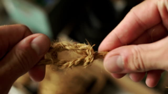 Tying string knot video