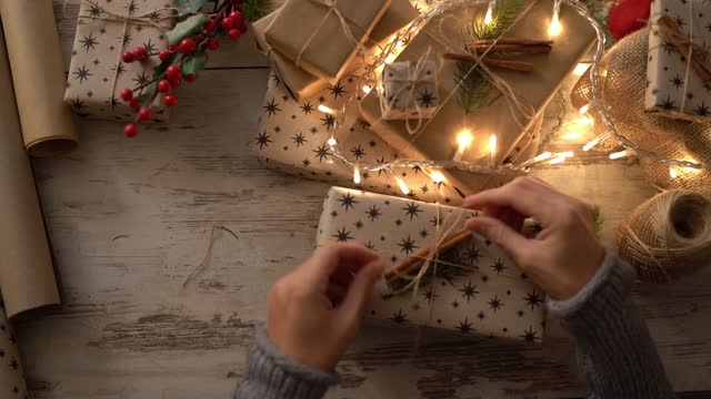 Tying up a Christmas gift