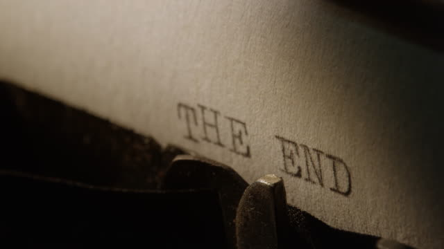 LD Type bars of old typewriter printing words THE END video