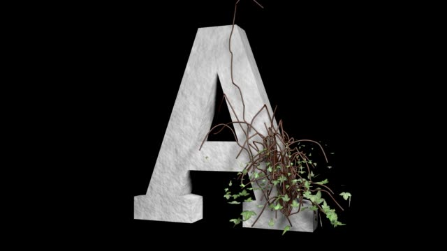 Type Letter A. Ivy Growing Stone Alphabet