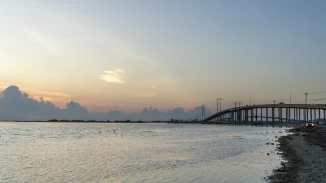 Typical Bay Bridge Leading to Island Beach During Sunrise
