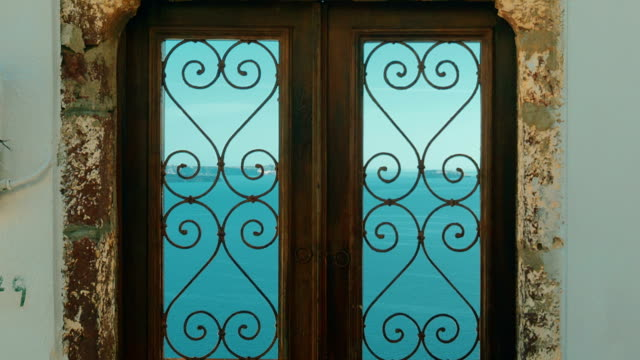 Typical Cycladic Mediterranean Door with a View to the Sea video