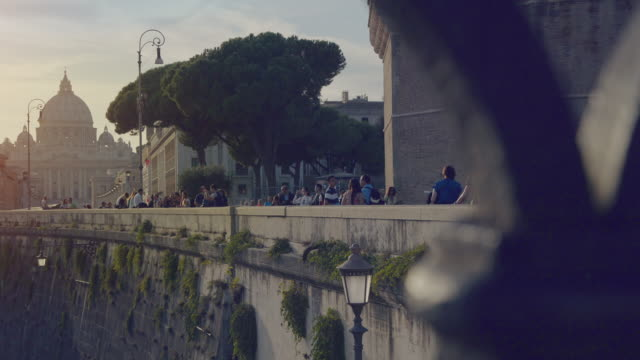 Typical glimpse of Rome from Tiber river bridge video