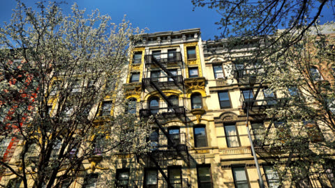 Typical New York Building. Cherry blossoms New York cityscape apartment stock videos & royalty-free footage