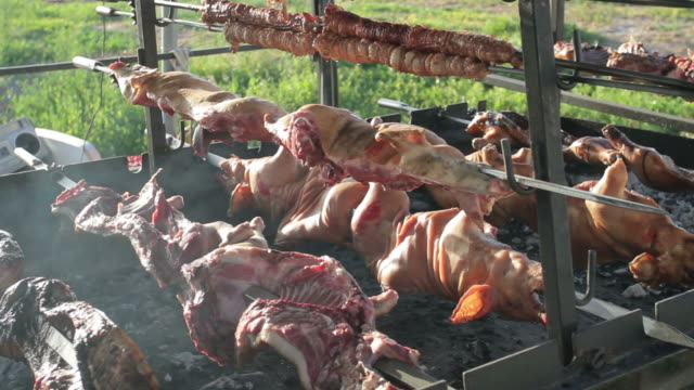 Typical Roasted Pig Meat in Sardinia, Italy video