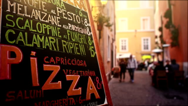 Typical Tourists Restaurant menu in the Street of Rome