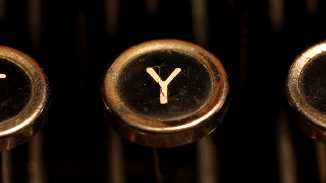 typing letter Y on vintage typewriter video