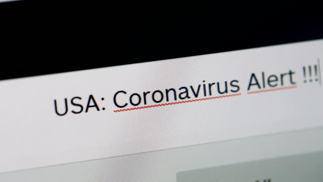 Typing on adress or search bar of a web browser USA Coronavirus Alert