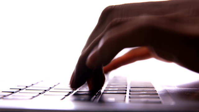 typing on laptop keyboard - writing class stock videos and b-roll footage