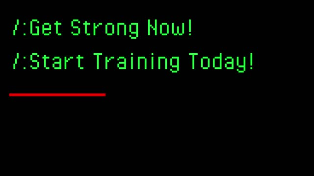 Typing on old computer. Get Strong Now! Start Training Today.