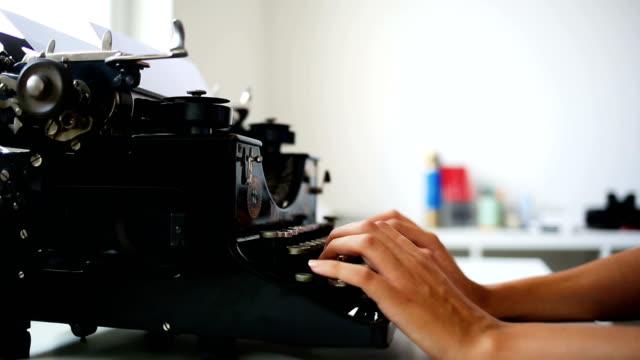 Typing on vintage typewriter