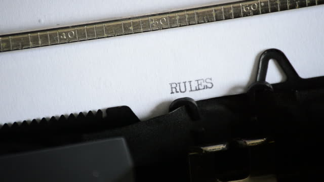 Typing the word RULES with an old manual typewriter video