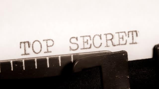 Typing. TOP SECRET. Written on a typewriter. video