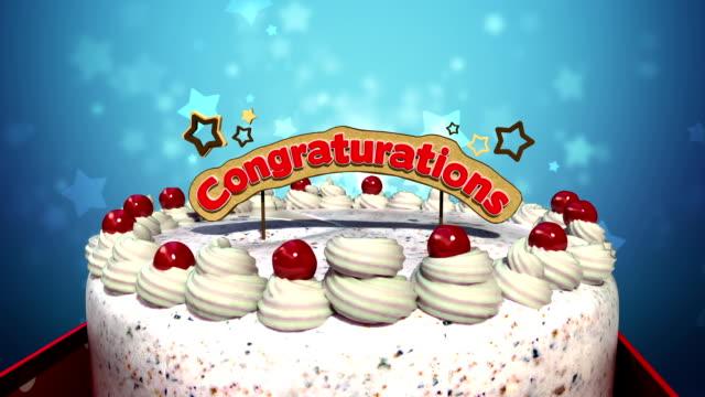 Typo'Congratulations'sur le gâteau. - Vidéo