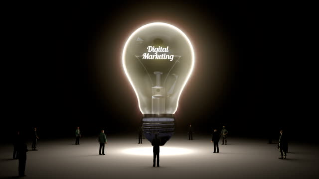 Typo 'digital marketing ' in light bulb and surrounded businessmen video