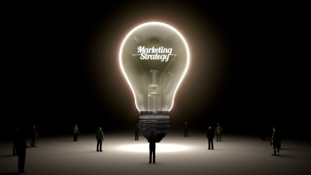 Typo 'Marketing' in light bulb and surrounded businessmen video