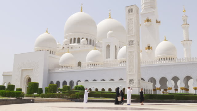 uae summer day arabic main mosque front  4k video
