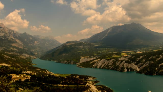 ubaye valley and artificial lake, gorges du verdon - barrage de serre poncon stock videos & royalty-free footage