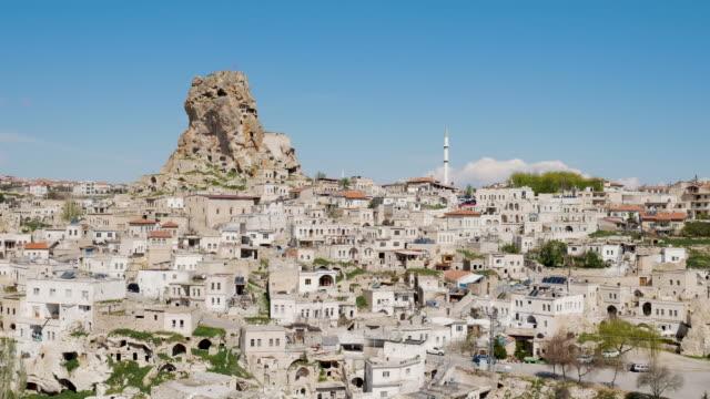 Uchisar Castle in Cappadocia Region of Turkey, 4K Resolution.