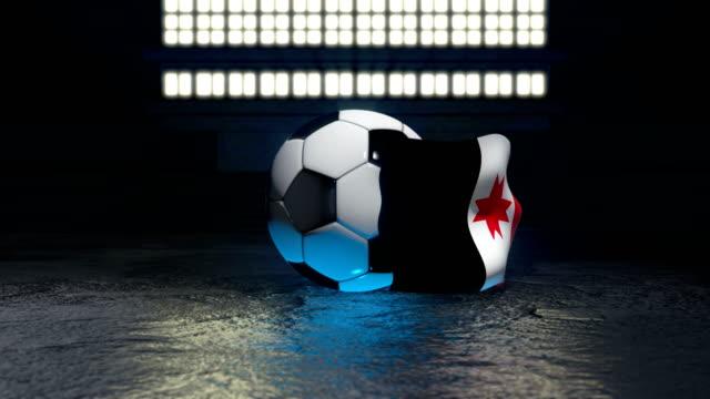 udmurtia flag flies around a soccer ball - insygnia filmów i materiałów b-roll