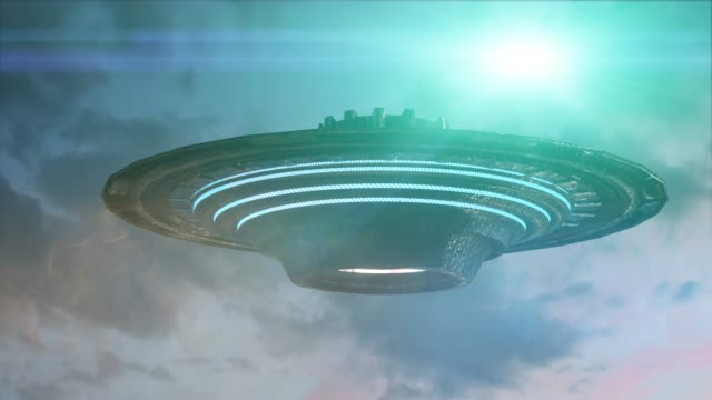 ufo flying saucer on dark background. 3d render