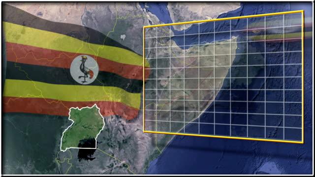 Uganda flag and map animation video