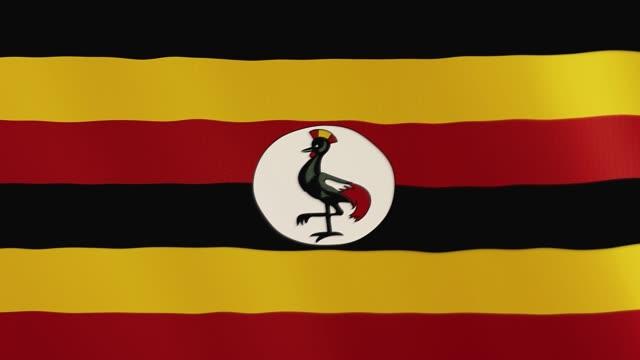 Uganda flag waving animation. Full Screen. Symbol of the country video