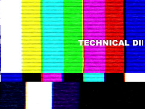 Uh-oh, technical difficulties! Technical difficulties text rolling over a totally awful distorted analog transmission. Time to check your antenna, I say. This animation can be looped indefinitely. cable tv stock videos & royalty-free footage