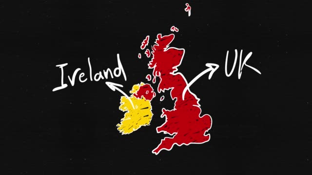 Uk and Ireland Map Uk and Ireland Map Hand drawing uk border stock videos & royalty-free footage