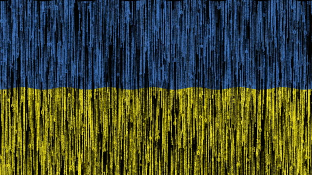 Ukraine flag digitally generated animation with ones and zeros binary computer code