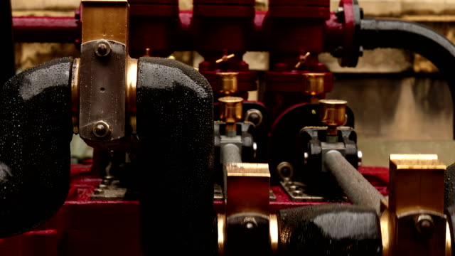 Ultra closeup of an hydraulic engine operating outdoors An ultra close-up shot of an hydraulic engine operating outdoors 19th century style stock videos & royalty-free footage