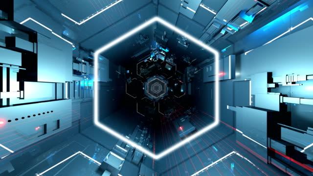 vídeos de stock, filmes e b-roll de túnel hexagonal ultra hd 4k - dance music