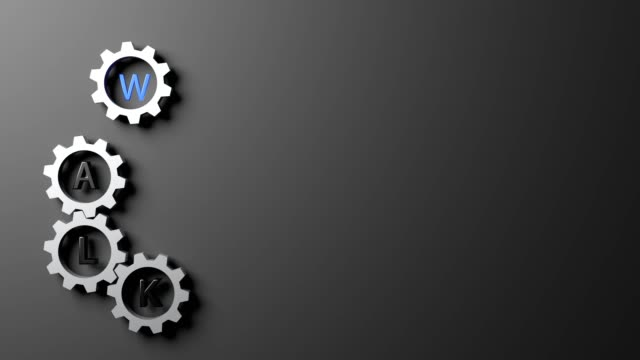 ultra high definition resolution computer generated animation of walk the talk wording in rotating gears on gray background, meaning action as promise, thirty frame per second