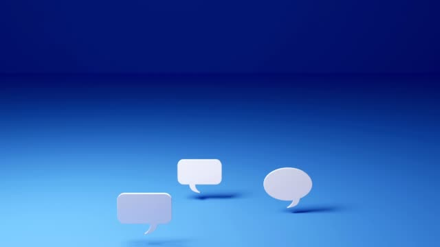 ultra high definition resolution three dimentional computer generated animation of white comment balloon on blue background, thirty frame per second