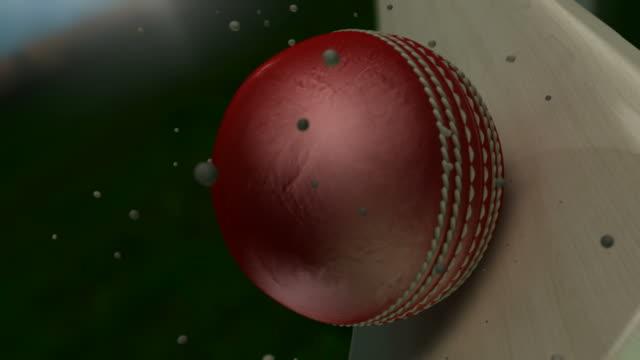 vídeos y material grabado en eventos de stock de ultra resolución bola de críquet impactante bat con partículas - críquet