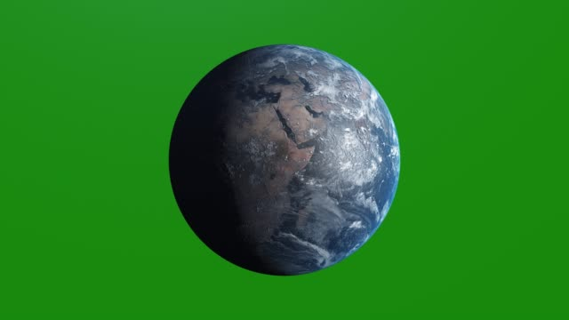 vídeos de stock e filmes b-roll de ultra realistic earth rotating, 4k. perfect for your own background using green screen. high resolution texture - roda