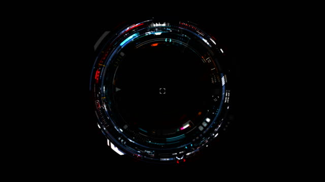 Ultra-detailed Cyborg Eye / Colorful Futuristic Interface / Sci-fi technology. Seamless loop video