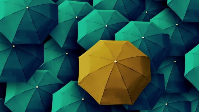 vídeos de stock, filmes e b-roll de guarda-chuva, líder, único chefe, individualidade, original, especial - contrastes