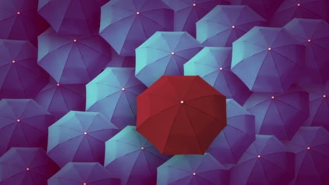 ombrello, capo, unico, capo, individualità, originale, speciale. - distinguersi dalla massa video stock e b–roll