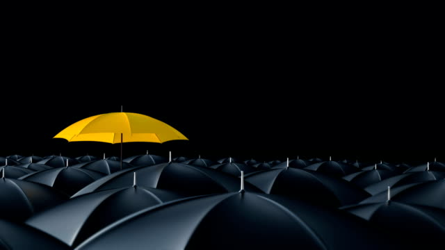 Umbrella standing out from crowd mass concept Yellow umbrella open and standing out from crowd mass black umbrellas, design background text concept individuality stock videos & royalty-free footage