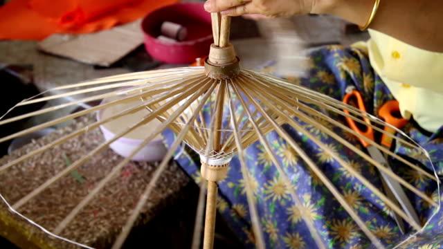 Umbrella. Handmade Thai style umbrella painting, Chiang Mai,Thailand painting art product stock videos & royalty-free footage
