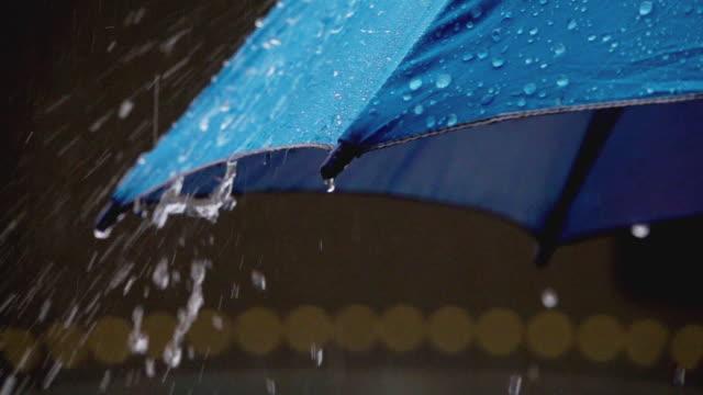 vídeos de stock, filmes e b-roll de guarda-chuva com chuva. - chapéu