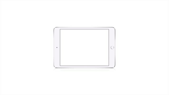 Unbranded White Tablet Computer, Blank White Screen White Background Close Up video
