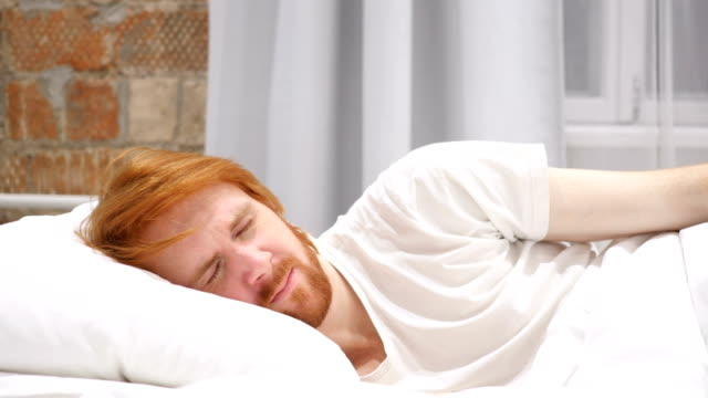 Uncomfortable Man Sleeping on Side in Bed at Night, Restlessness video