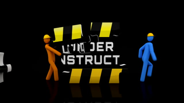 Under construction puzzle. Black background. 2 videos in 1 file. 3D characters doing a puzzle with the words UNDER CONSTRUCTION over black background. Full HD. Animation created exclusively for iStockphoto. website design stock videos & royalty-free footage