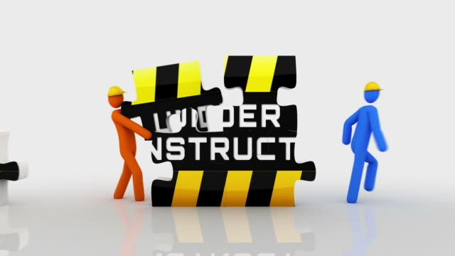 Under construction puzzle. White background. 2 videos in 1 file. 3D characters doing a puzzle with the words UNDER CONSTRUCTION over white background. Full HD. Animation created exclusively for iStockphoto. website design stock videos & royalty-free footage