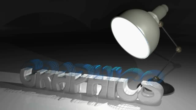 GRAPHICS under the light of a desk lamp - 3D rendering video