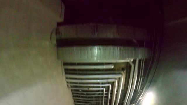 Underground parking garage ceiling.