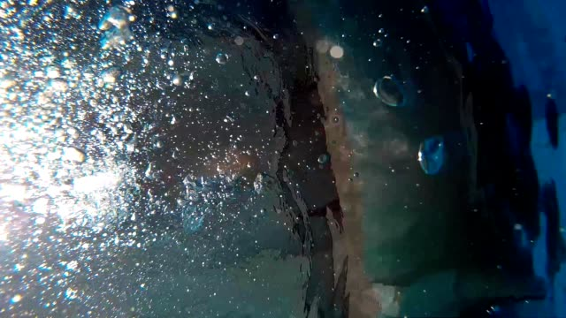 Underwater Air Bubbles Rising Up Breathed Out video