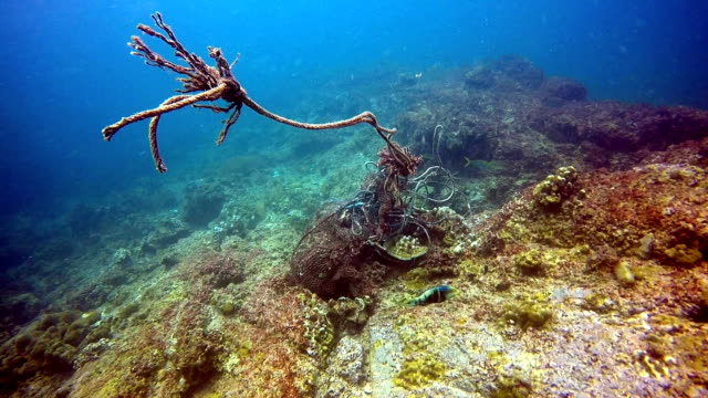 Underwater Fishing Ghost Net Environmental Damage. video